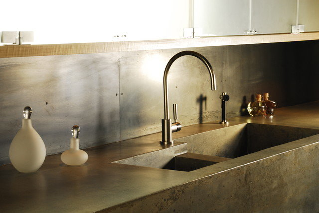 Werkblad Keuken Betonlook : Concrete Kitchen Countertops with Sink